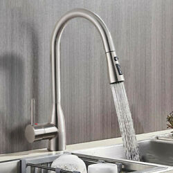 Brushed Nickel Kitchen Faucet Single Handle/down Pull Out Sprayer Sink Mixer Tap