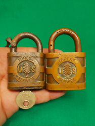 Antique Usfs Pine Tree Padlock Lot Of 2 Different Sizes With Original Key Forest