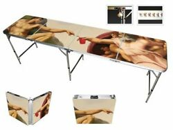 8' Folding Beer Pong Table With Bottle Opener, Ball Rack And 6 Pong Balls