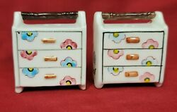 Vintage Made In Japan Salt And Pepper Shakers, Flowered Chest Of Drawers W/handles