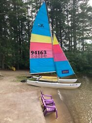 1989 Hobie Cat 16' Catamaran - Complete With Sails And All Parts