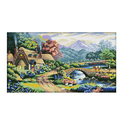 Stampted Cross Stitch Kits Embroidery Package - Country Landscape 11ct