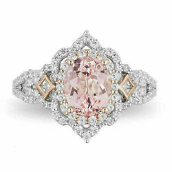 Enchanted Disney Aurora 3/4 Ct Pink Oval Scallop Frame Ring Solid 14k White Gold