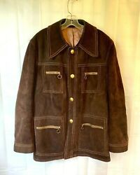 Vintage Mod Suede Jacket 1960s 1970s 44 46 Chest Brown O Ring Zippers Short Coat