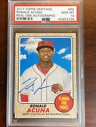 2017 Topps Heritage Ronald Acuna Jr Minor League Real One Auto Psa 10