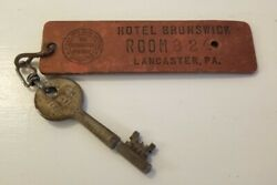 Unique Antique Skeleton Key And Tag From Hotel Brunswick Room 824 Lancaster, Pa