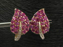 18kt Natural Ruby And Diamond Yellow Gold Lead Earrings 3.15ct