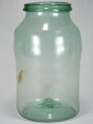 Early 19th-century Blown Glass Preserving Jar - Blue Green With Bulges 15¾