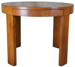 Traditional Mahogany Round Drum Side Table Desk + Drawer Modern 38