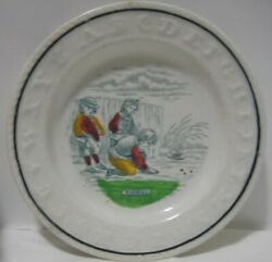 Old Antique Abc Plate - Children Playing With Marbles