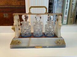 Antique English Miniature Marble And Bronze Tantalus Cabinet 3 Crystal Decanters