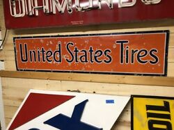 Original Early Vintage United States Tires Sign Old Porcelain Gas Oil Will Ship