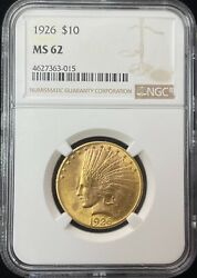 1926 Indian Head 10 Gold Coin Ngc Ms 62