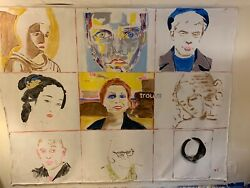 Lamaji Mural Original Art Portraits The Silence Within 9and039 X 7and039 Acrylic On Canvas