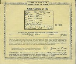 1953 Chevrolet Station Wagon Michigan Title Signed Historical Document