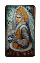 Beautiful Russian Lacquer Box Painted Over Mother Of Pearl - Snow Maiden 4154