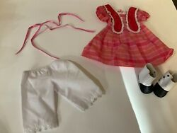 American Girl 18 Marie Grace Doll Meet Outfit Dress, Hair Ties, Boots, Bloomers
