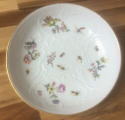 18th Century Meissen Saucer Hand Painted With Flowers And Insects