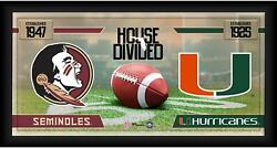 Florida State Seminoles Vs Miami Hurricanes Frmd 10 X 20 House Divided Collage