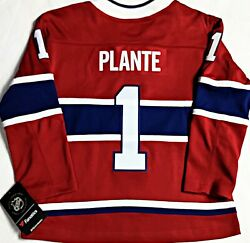 Youth-nwt-s/m Jacques Plante Montreal Canadiens Premier Breakaway Hockey Jersey