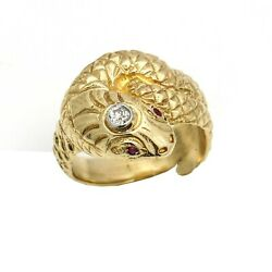 Victorian Style Snake Ring With A Diamond And Ruby Eyes 14k Yellow Gold
