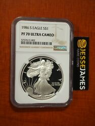 1986 S Proof Silver Eagle Ngc Pf70 Ultra Cameo Classic Brown Label