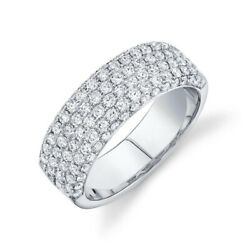 Diamond 7mm Wide Band Ring 14k White Gold Natural Round Pave 1.32ct Statement