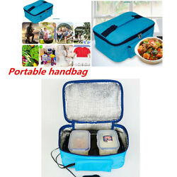 12v Blue Portable Car Electric Oven Heated Food Lunch Tote Camping Heating Bag