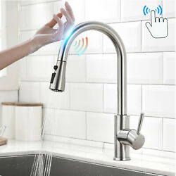 Touch Sensor Kitchen Faucet Sink Pull Down Sprayer Swivel Mixer Brushed Nickel