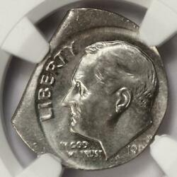 199x Ngc Ms65 Off Center Broadstruck On A Straight Clip Planchet Dime Mint Error