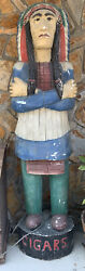 Antique/ Vintage Cigar Store Wooden Indian Chief Statue 7 Feet Tall