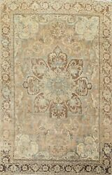 Antique Muted Geometric Heriz Hand-knotted Area Rug Wool Oriental Carpet 7x11 Ft