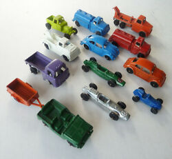 Vintage 13 Piece Lot Of Tootsietoy U.s.a. Metal Toy Cars And Trucks Xlnt No Reserv