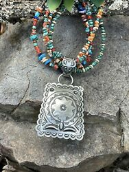 L. Tahe Hand Stamped Sterling Navajo Jumbo Concho Pendant Signed