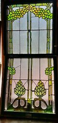 Hops Plant. Beer Ingredient Stained Glass Window