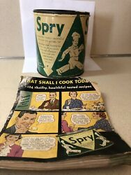 Vintage Spry Brand Shortening Lard Can Tin 3lbs W/ Partial Cookbook No Lid