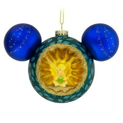 Disney Mickey Mouse Icon Glass Christmas Ornament Tinker Bell And Peter Pan Nwt