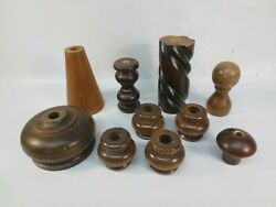 10 Assorted Wood Lamp Parts