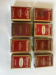 Collection Of 8 Schilling Spice Tins, Cloves, Ginger, Allspice, Pepper Etc. Nice