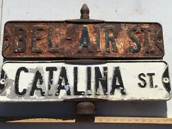 Embossed Bel-air And Catalina Street 4 Signs Total Post Holder Antique Vintage Ca