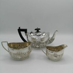 3-teiliges Victorian Tea Service In Solid Silver From Sheffield 1897