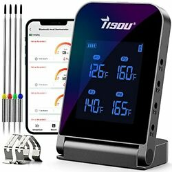 Wireless Bluetooth Meat Thermometer With 4 Probes, Smart Lcd Digital Bbq Grill T
