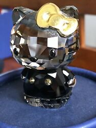 Crystal Figurine Sanrio Hello Kitty Gold Bow 1042931 Mint With Box.