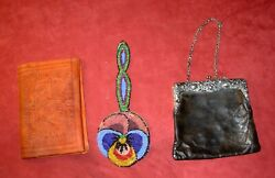 2 Vintage Purses Beaded Embossed Moroccan Leather Wallet