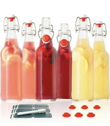 Otis Classic Swing Top Glass Bottles - Set Of 6, 16oz W/ Marker And Labels - Clear