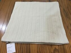 """Pottery Barn Honeycomb Pillow Cover 18"""" Square Ivory Nwt Neutral Farmhouse"""
