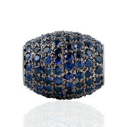 Blue Sapphire Drum Bead Spacer Finding 925 Sterling Silver Handmade Jewelry