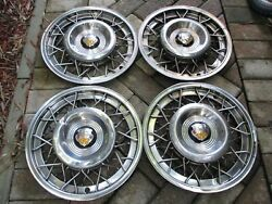 1951-1953 Oldsmobile 15 Wire Hubcaps Set Of 4 Oem