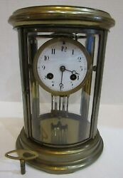 Antique French S. Marti And Cie Oval Crystal Regulator Clock 8 Day, Time/strike