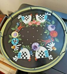 Handpainted Wooden Lazy Susan Solid Wood Turntable Country Farmhouse Folk Art